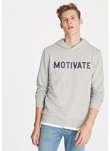 Mavi Mavi Motivate Baskılı Açık Gri Sweatshirt Gri